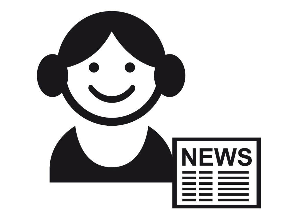 A black and white vector of a woman smiling with buns on either side of her head and a newspaper in front of her.